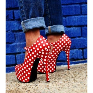 Red Polka Dots Mary Jane Pumps Vintage Heels with Platform