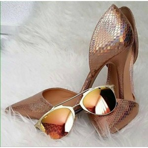 Rose Gold Stiletto Heels Pointy Toe Python Double D'orsay Pumps