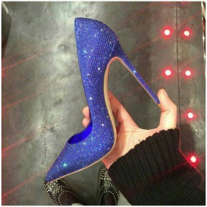 Royal Blue Heels Evening Shoes Sparkly Pumps Pointy Toe Stiletto Heels