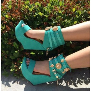 Green Wedge Sandals Jeweled Open Toe Platform Heels