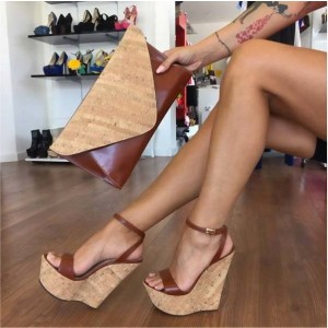 Brown Wedge Sandals Ankle Strap Open Toe Platform Heels