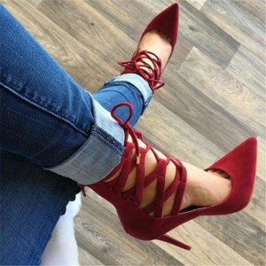 Red Strappy Heels Pointy Toe Lace up Suede Pumps Stiletto Heels