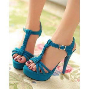 Blue T Strap Sandals Knit Platform High Heels