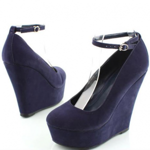 Navy Closed Toe Wedges Platform Suede Ankle Strap Pumps