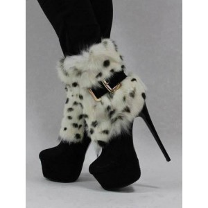Black Fur Boots Platform High Heel Shoes Mid-calf Boots