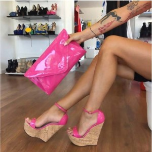 Hot Pink Wedge Sandals Ankle Strap Patent Leather Platform Heels
