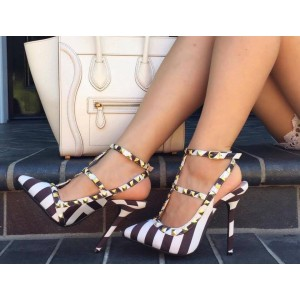 Black and White Stripes T Strap Sandals Slingback Stiletto Heels with Rivets