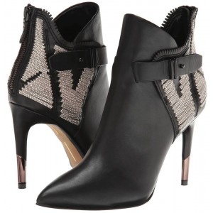 Black Stiletto Heels Pointy Toe Buckle Ankle Booties for Work