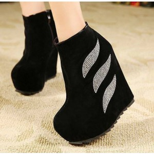 Women's Black Rhinestone Suede Platform Heels Ankle Wedge Booties