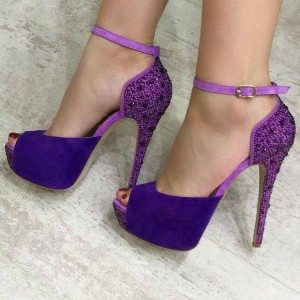 Purple Ankle Strap Sandals Platform Peep Toe Heels with Strass