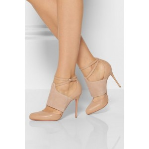 Nude Ankle Strap Heels Round Toe Stiletto Heel Pumps