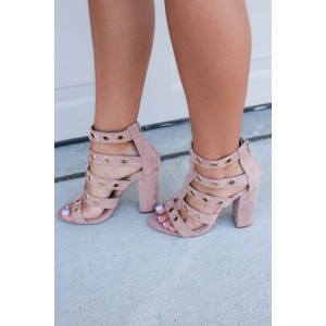 Light Pink Block Heel Sandals Open Toe Suede Chunky Heels