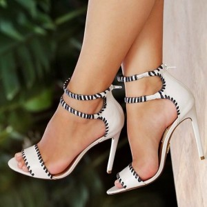 Ivory Heels Open Toe Ankle Strap Stiletto Heel Sandals
