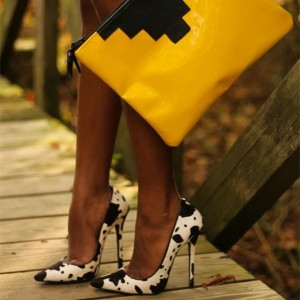 Black and White Heels Cow Print Stiletto Heel Pumps