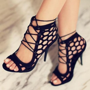Black Strappy Sandals Hollow out Open Toe Stiletto Heels