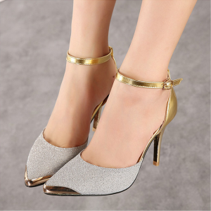 Silver and Gold Glitter Shoes Ankle Strap Heels Double D'orsay Pumps