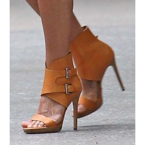 Tan Sandals Open Toe Platform High Heels with Buckles