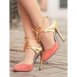 Women's Orange Lace-Up Round Toe Stiletto Ankle Strap Heels Shoes