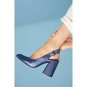 Navy Blue Round Toe Block Heel Buckle Slingback Heels Pumps