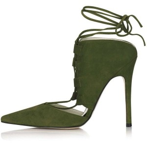 Olive Green Strappy Heels Pointy Toe Stiletto Heel Suede Shoes