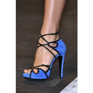 Women's Blue Ankle Strap Open Toe Strappy Heels  Sandals
