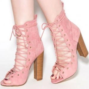Light Pink Lace up Boots Open Toe Suede Chunky Heels