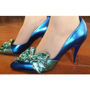 Royal Blue Wedding Heels Pointy Toe Mirror Leather Pumps with Bow