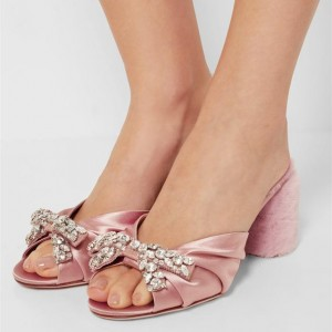 Pink Wedding Sandals Peep Toe Rhinestone Satin Block Heels Mules