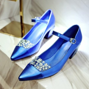 Bridesmaid Blue Pointed Toe Mary Jane Rhinestone Chunky Heel Wedding Shoes Pumps