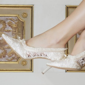 Ivory Bridal Shoes Lace Heels Pointy Toe Wedding Pumps