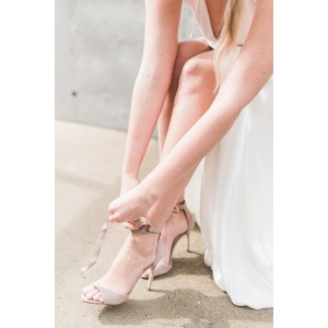 Beige Bridal Sandals Lace up Open Toe Suede Stiletto Heels