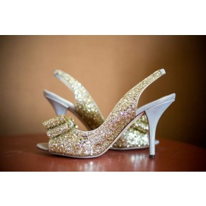 Golden Bridesmaid Sandals Glitter Peep Toe Bow Sling Back Stiletto Heel
