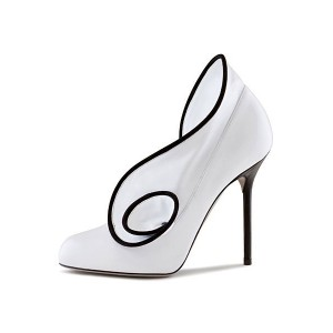 Women's White Almond Toe Curve Design Stiletto Heel Dorsay Pumps Wedding Shoes