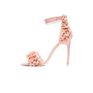 Women's Nude Open Toe Flower Ankle Strap Stiletto Heel Sandals Wedding Shoes