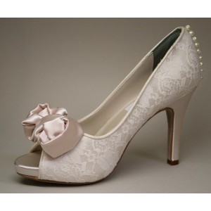 Women's Nude Peep Toe Platform Bow Lace Stiletto Heel Pumps Wedding Shoes