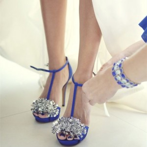 Women's Blue Peep Toe Platform Rhinestone T-strap Stiletto Heel Bridal Sandals