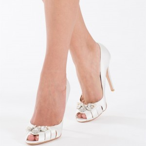 Women's Ivory Peep Toe Pearl Rhinestone Stiletto heel pumps Bridal Heels