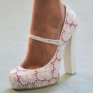 White Wedding Shoes Lace Heels Mary Jane Chunky Heel Pumps
