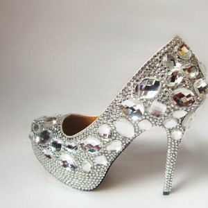 Women's Silver Almond Toe Platform Rhinestone Glitter Stiletto Heel Bridal Shoes