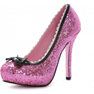 Women's Plum Almond Toe Platform Lace Glitter Bow  Stiletto Heel Pumps Bridal Shoes