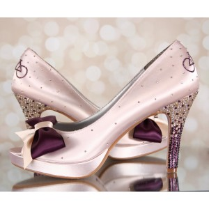Pink Satin Bridal Heels Peep Toe Bow Heels Rhinestone Wedding Pumps