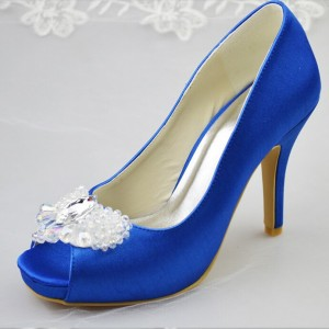 Women's Royal Blue Peep Toe Platform  Rhinestone Stiletto Heel Pumps Bridal Shoes