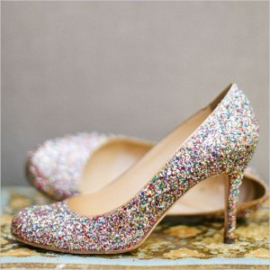 Colorful Bridal Heels Glitter Round Toe Stiletto Heels Pumps for Wedding