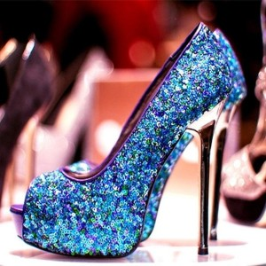 Women's Blue Peep Toe Platform Sequined Stiletto Heel Pumps Bridal Shoes