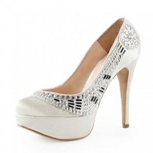 Women's White Almond Toe Platform Rhinestone Hollow Out Bridal Heels Pumps
