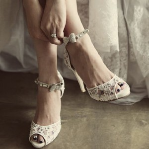 White Bridal Sandals Ankle Strap Peep Toe Lace Pumps