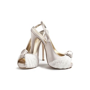 Champagne Bridal Shoes Lace Heels Slingback Peep Toe Pumps