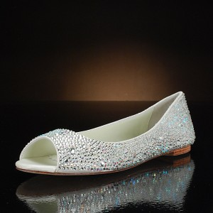 Silver Flat Wedding Shoes Peep Toe Rhinestone Hotfix Bridal Shoes
