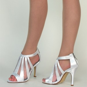 Women's Silver Peep Toe Hollow Out Stiletto Heel Bridal Sandals