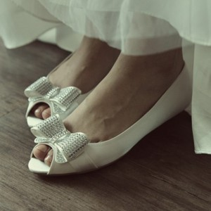 Women's White Peep Toe Bow Flats Bridal Shoes